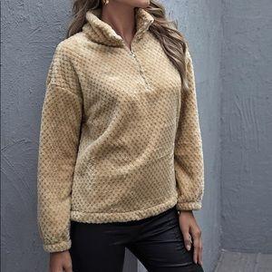 Sweaters - Zipper front fuzzy sweater
